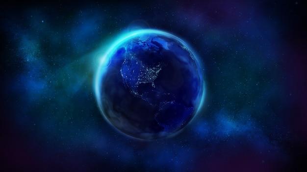 Ночная половина земли из космоса, показывающая северную и южную америку