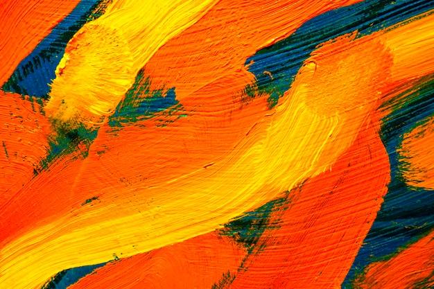 キャンバスに油絵の具のカラフルな質感。抽象芸術の背景。ペイントの大まかなブラシストローク。背景として使用できます。 Premium写真