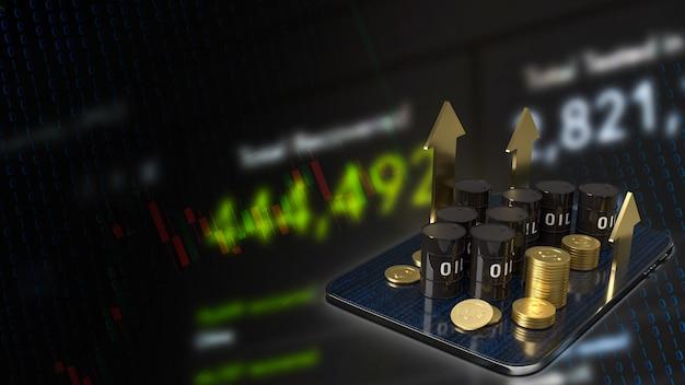 タブレットの石油タンクとエネルギーまたは石油ビジネスコンセプトの3dレンダリングのための金の矢印