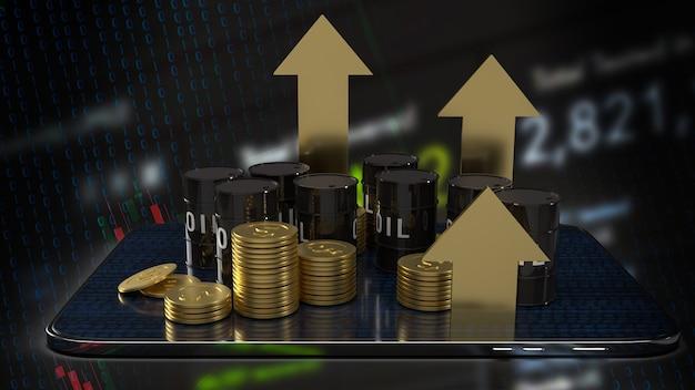 에너지 또는 석유 비즈니스 개념 3d 렌더링을 위한 태블릿 및 금 화살표 위의 오일 탱크