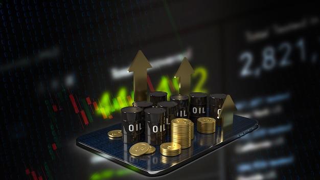 タブレットのオイルタンクとエネルギーまたは石油ビジネスコンセプトの3dレンダリングのための金の矢印