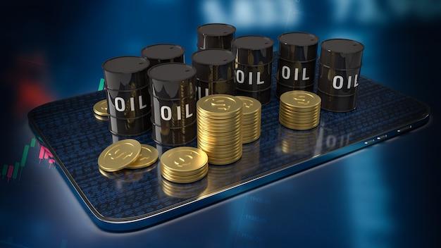 Масляный бак на планшете для энергетической или нефтяной бизнес-концепции 3d-рендеринга
