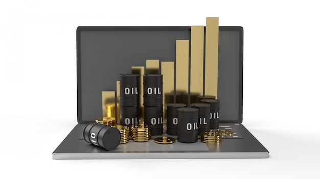 石油に感謝し、石油含有量のラップトップ3dレンダリングのグラフ。
