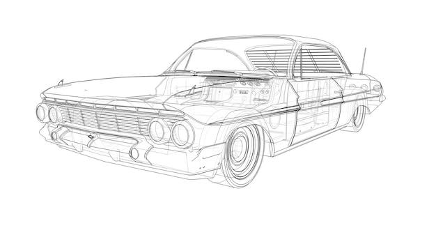 오래된 미국 자동차는 선이 투명합니다.