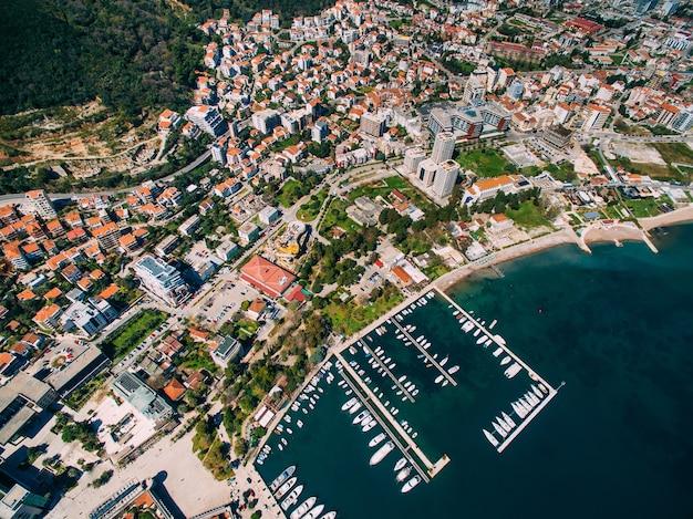 Съемка старого города будвы с беспилотника черногория
