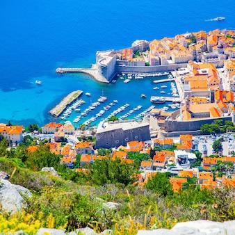 크로아티아 두브로브니크 구시가지. 위에서 파노라마 보기, 도시 풍경