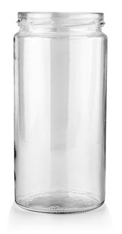 食品と缶詰食品用の開いた空のガラス瓶。クリッピングパスで白い背景に分離