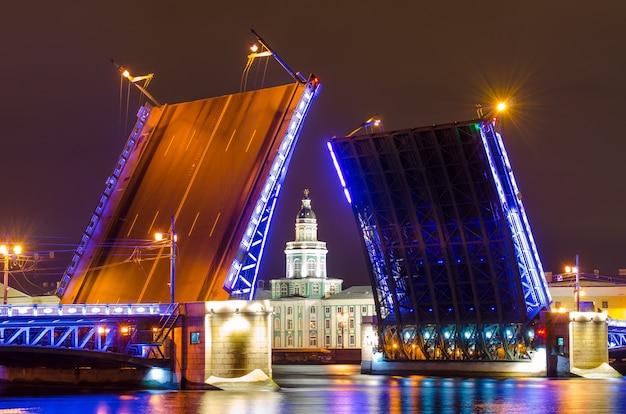 Дворцовый мост и музей кунсткамера ночью на неве в санкт-петербурге.