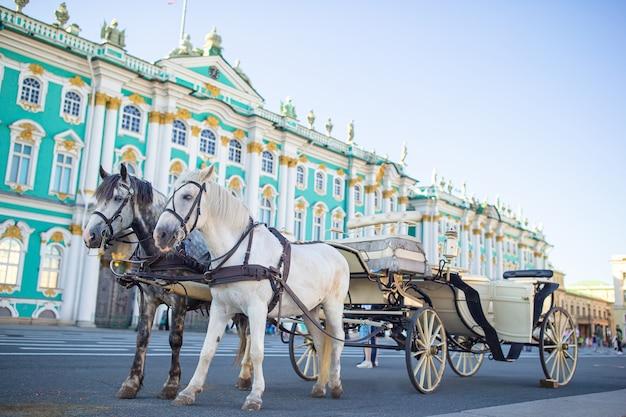 ロシアのサンクトペテルブルクの宮殿広場