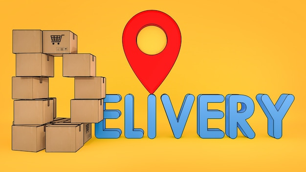 紙箱は、配信フォントと赤いピンポインターを備えたd字型に配置されています。オンラインショッピングと配信コンセプト、3dレンダリング。