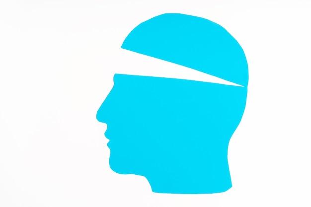 頭の紙の輪郭は青で、上部が少し開いています。思考充填の概念