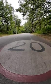 公園には、20kmの制限速度が描かれた広いアスファルト道路があります。ストレッチサインインパースペクティブ
