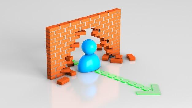 장애물을 통해 목표로 가는 길 사업가 리더는 도중에 벽돌 벽을 부수었습니다
