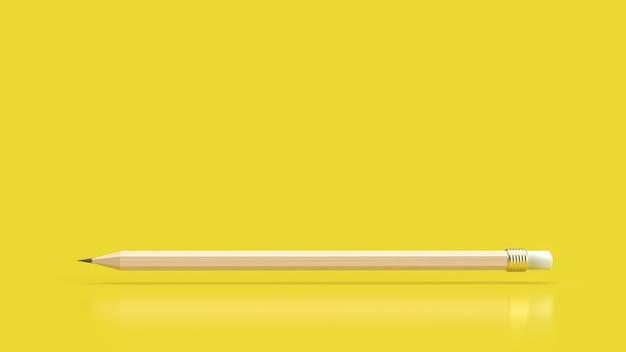 教育または創造的な概念の3dレンダリングのための黄色の背景に鉛筆