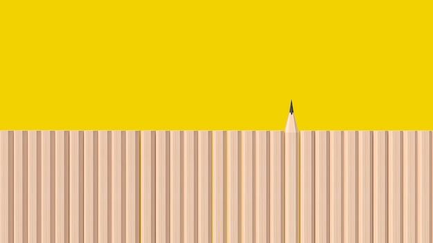 教育またはビジネスコンテンツの3dレンダリングのための黄色の背景に鉛筆の木