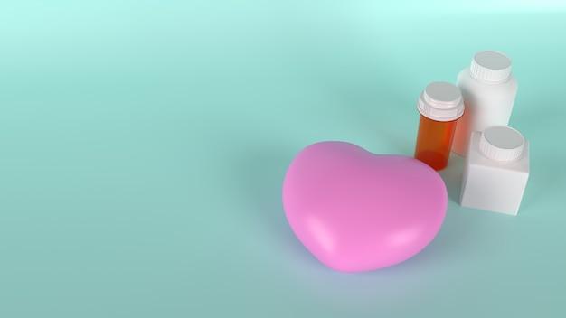 健康コンテンツの3dレンダリング用のピンクのハートと薬瓶。