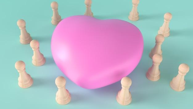 共感コンテンツの3dレンダリング用のピンクのハートと木製のチェス。