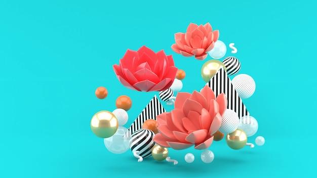 青い空間に色とりどりのボールに囲まれたピンクの蓮