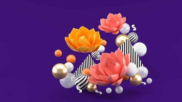 紫の空間に色とりどりのボールに囲まれたピンクの蓮