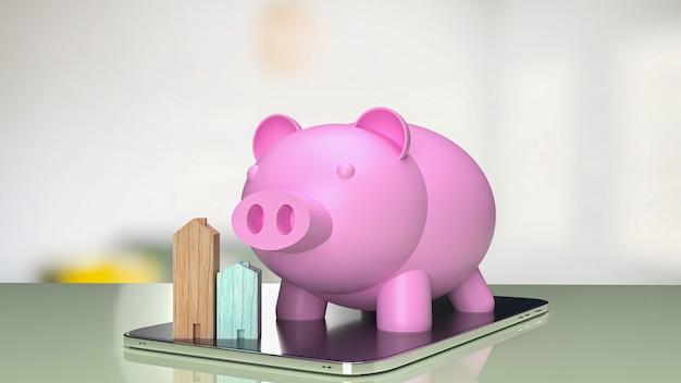 부동산 비즈니스 개념 3d 렌더링을 위한 태블릿의 분홍색 돼지 저금통과 나무 집