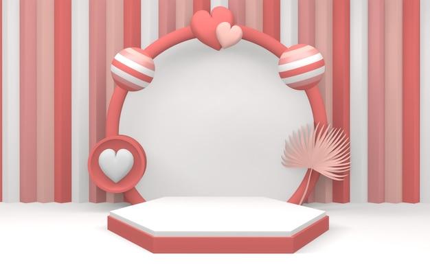 분홍색 연단은 분홍색과 빨간색 배경에 최소한의 디자인을 표시합니다. 3d 렌더링