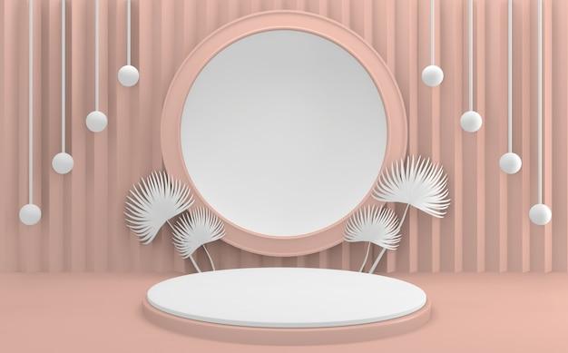 핑크 포디움 최소한의 디자인 제품 장면. 3d 렌더링