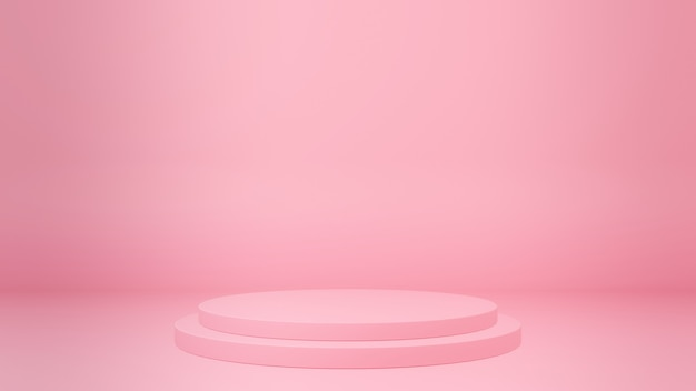 프레젠테이션 제품 콘텐츠 3d 렌더링을위한 분홍색 무대