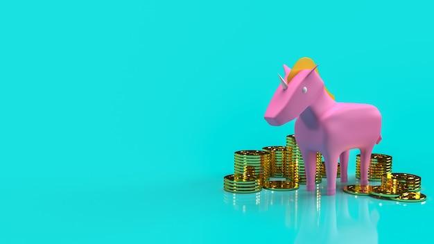 スタートアップビジネスコンテンツの3dレンダリング用のピンクのユニコーンと金貨。