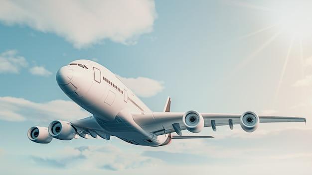 비행기는 하늘을 날고 있습니다. 3d 렌더링 및 그림입니다. 비행기는 하늘을 날고 있습니다.