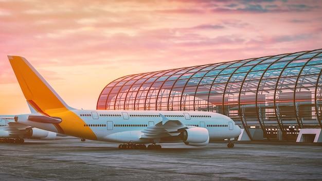 비행기는 공항에 주차되어 있습니다. 3d 렌더링 및 그림입니다.