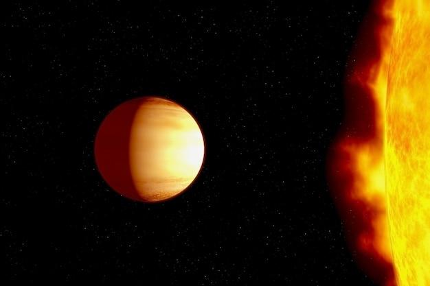 Планета очень близко к горячей звезде элементы этого изображения предоставлены наса.
