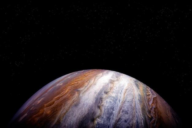 Планета юпитер на темном фоне элементы этого изображения, предоставленного наса