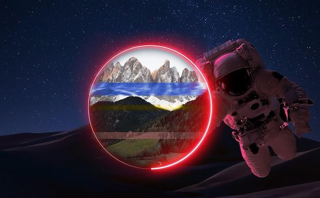 행성 화성 환상적인 풍경 공간 하늘 네온 불빛의 반사 우주 비행사 중력 별 3d 그림