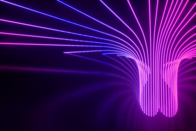Портал расходящихся неоновых лучей, формирующих сердце 3d иллюзии