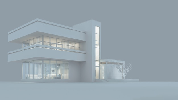 야간 조명과 wndows.3d 일러스트에서 빛이있는 흰색 재료로 된 현대적인 오두막 집 프로젝트. 3d 렌더링. 재고 일러스트입니다.