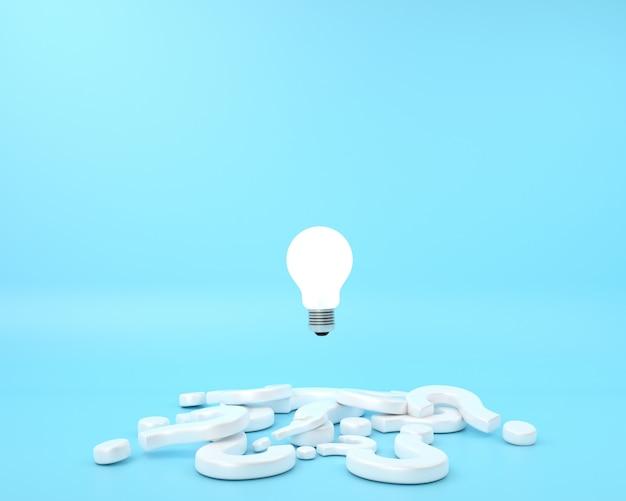 Вопросительный знак и различие идея лампочки с плавающей