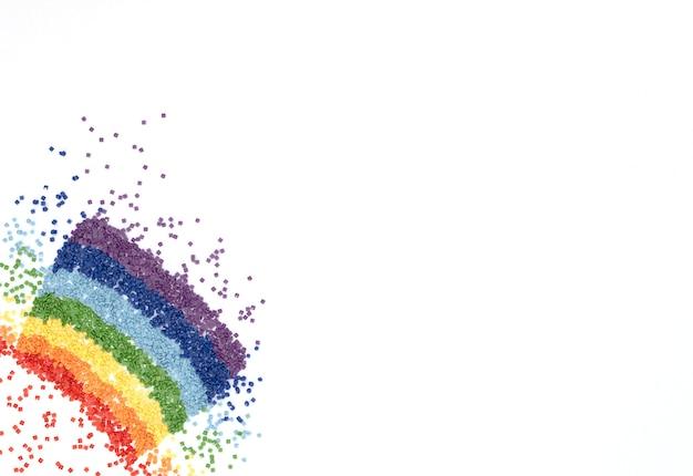 ダイヤモンドの刺繡、白のモザイクのためのカラフルなクリスタルの虹