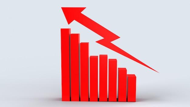 赤い矢印とグラフ、ビジネスコンテンツの3 dレンダリング。