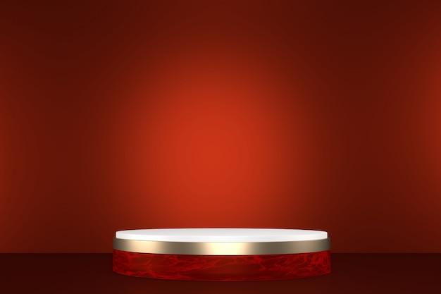 Красный японский подиум показывает косметический продукт в геометрическом японском стиле. 3d визуализация