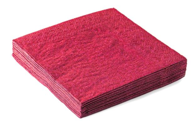 白い背景で隔離の赤いナプキン