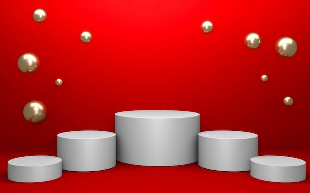 제품 프레젠테이션을위한 기하학적 인 빨간색 연단입니다. 3d 렌더링