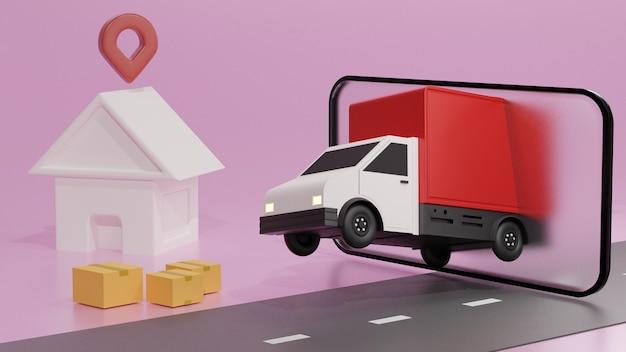 Красный грузовик на экране мобильного телефона, доставка заказа на розовом фоне