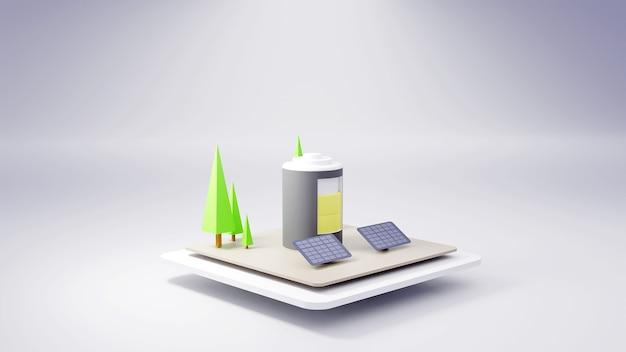 Возобновляемая энергия в 3d-рендеринге аккумулятор и солнечная батарея