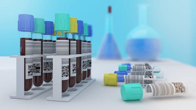 Исследование изучает образцы крови для лечения, анализ крови человека, чтобы узнать информацию о физическом здоровье, 3d-рендеринг.
