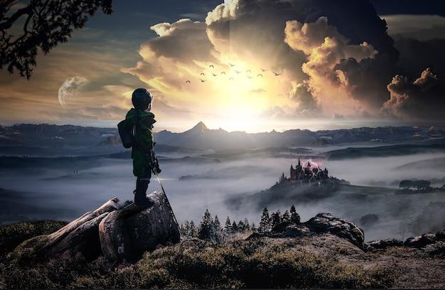 邪悪な城に対する英雄的で勇敢な子供の復讐