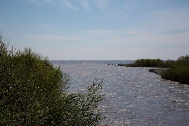 川は海に流れ込みます。淡水と塩水の出会い。コンセプト-すべてが大きくなる傾向があります。ロシア、アドラー、ムジムタ川が黒海に流れ込む夏の日
