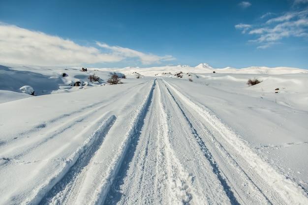 Дорога и пейзаж в снежный день