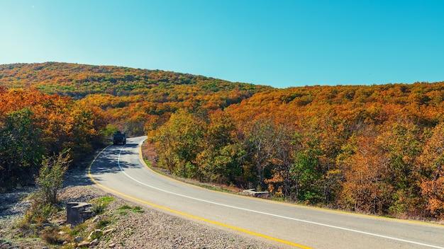 秋の木々に囲まれた山の路