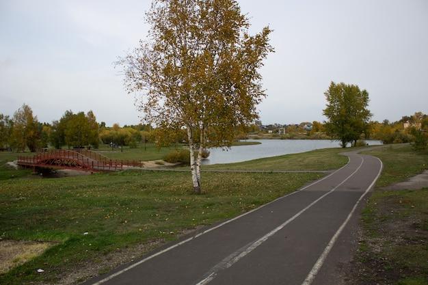 호수 근처 공원의 아름다운 배경으로 가는 길.