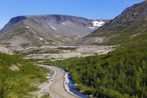 ロシア、コラ半島の北の山々への道。